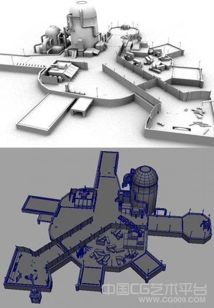 海边货运工厂客运码头写实maya场景模型下载