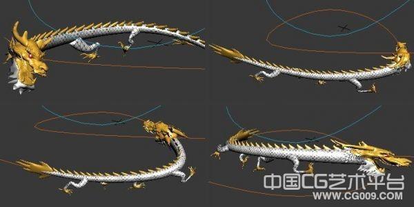 龙年拜年动画短片中的飞龙模型 带绑定 带动画 3