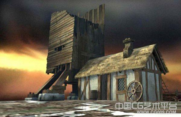 欧式古建筑木房子写实农村房屋场景模型下载