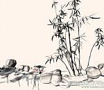 水墨效果的荷花竹子假山maya模型下载 很有意境