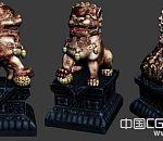 次时代铜狮模型园林石狮子,狮子雕像高模型下