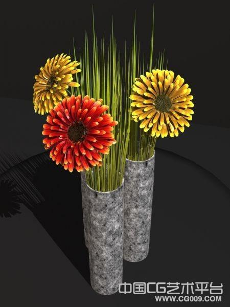 高精细花瓶太阳花黄色花红色花3d模型下载