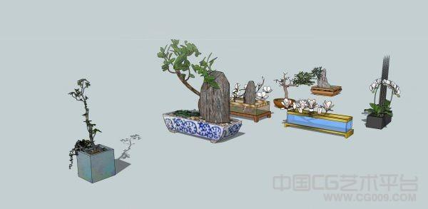 绿色盆景假山树木石头树根模型室内绿色植物模