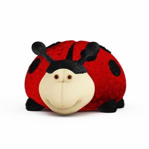 红色毛毛虫毛绒玩具3d模型下载 带完整贴图