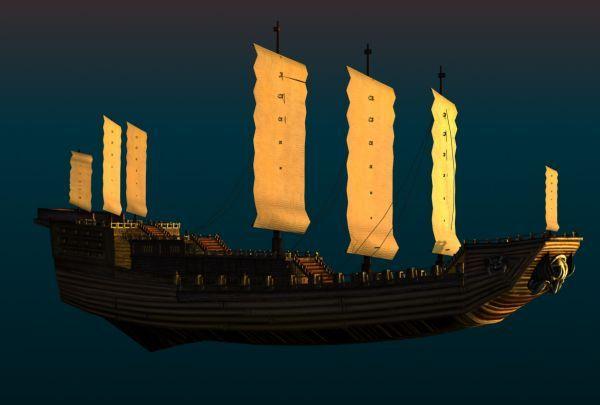 中国古代帆船战船3d模型下载 带完整贴图