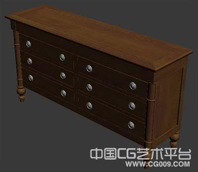 木柜子3d木质三层抽屉木柜实木柜子家具模型下