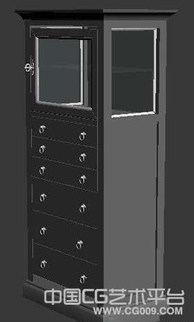 带玻璃柜子的多层抽屉的红木木柜子家具3d模型