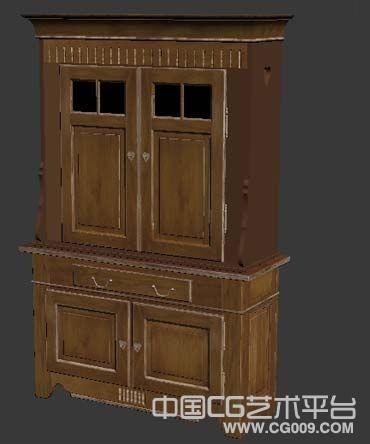 实木橱柜模型木质衣柜碗柜储物柜3d模型下载
