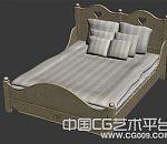 木床欧式多枕头白木双人床室内家具3d模型下载