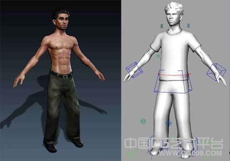 有绑定有骨骼的maya写实人物模型有完整贴图文件