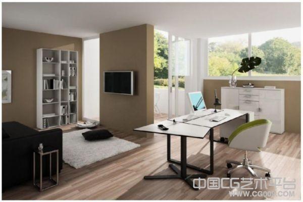 阳光普照的白色书房室内模型下载