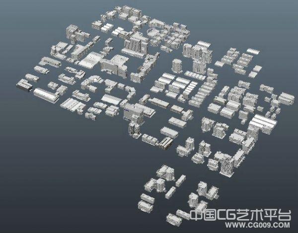 城市规划建筑群maya模型