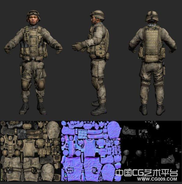 亚洲士兵标准男人3d模型 有max maya文件 带绑定