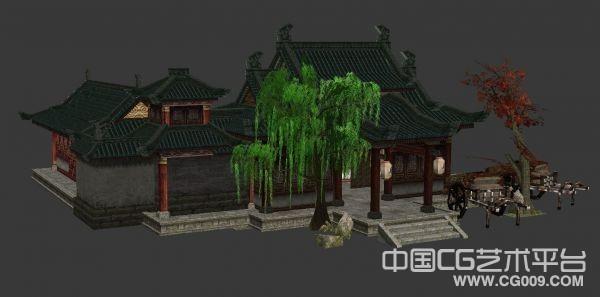 门前有柳树枫树的衙门县府古建筑场景模型下载
