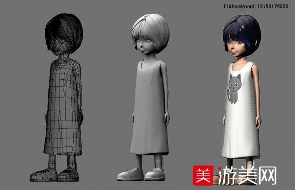 穿长裙 卡通 小女孩 maya模型下载