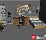 儿童房儿童书房maya模型下载