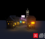 欧洲小镇街道maya写实场景模型下载