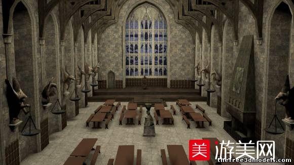 古老的教堂室内场景3d模型下载