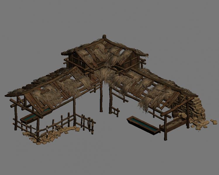 猪圈猪棚3d模型饲养场场景草棚屋CG模型下载