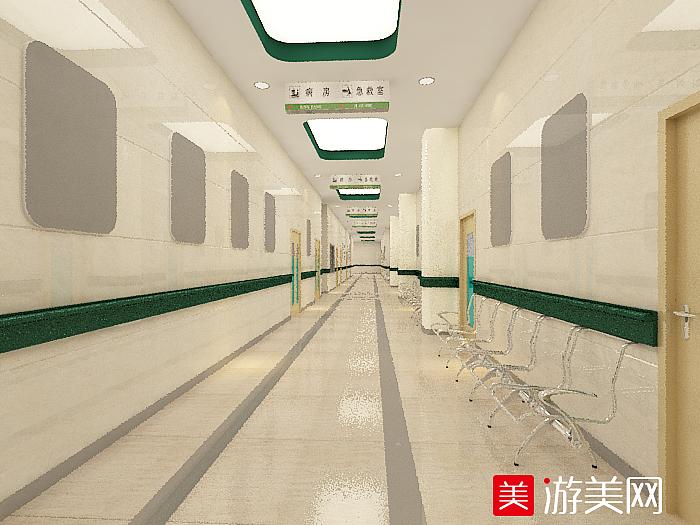 医院过道走廊室内场景模型