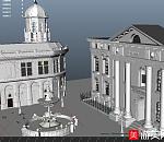 室外带喷泉的广场模型下载