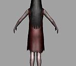 披头散发双眼流血的恐怖小女孩 女鬼 丧尸maya模