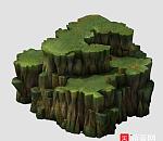 枯藤 岩石 悬崖 峭壁 2.5D场景 石头