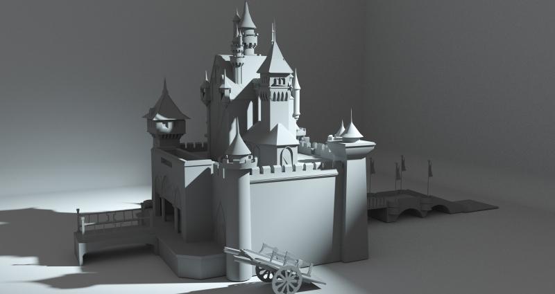 城堡  大场景  城堡场景  卡通城堡
