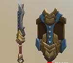 刀+盾牌手绘游戏模型