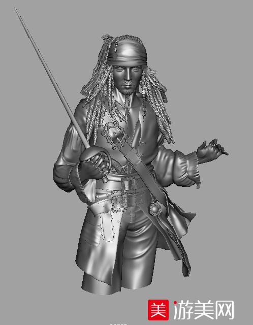 加勒比海盗-杰克船长3d模型下载 高模下载