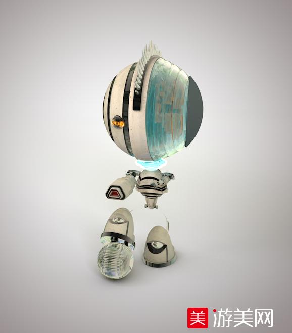 刺猬头小型机器人C4D模型,科幻机器小人模型