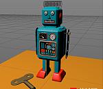 方盒子绿色复古机器人C4D模型