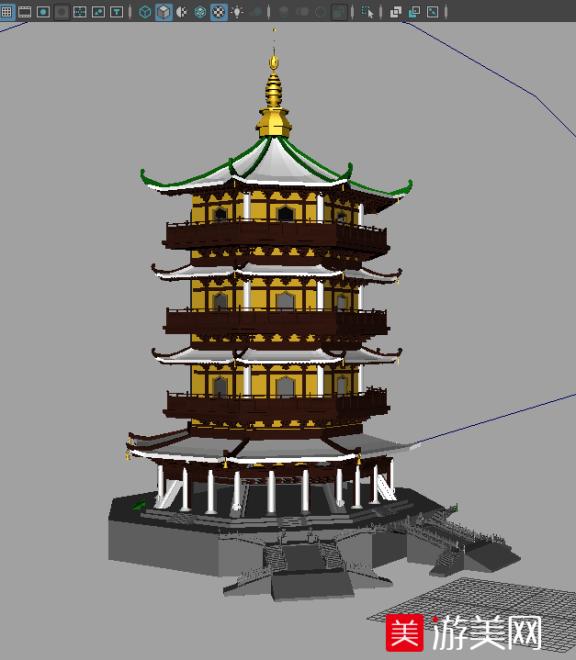 杭州西湖雷峰塔3D建筑模型下载