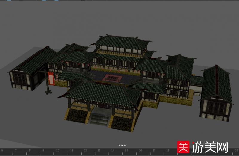 大型客栈古建筑maya模型