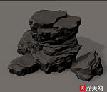 写实游戏石山,碎石,石头场景素模下载