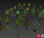 一组游戏树木模型带贴图