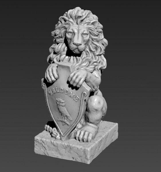 拿盾牌的狮子石雕高精细模型
