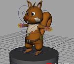 maya卡通松鼠绑定模型下载