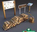 公园地图指示牌 木头 砍材 砍木头场景
