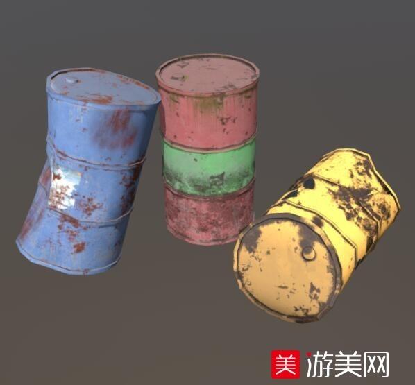 三个颜色油桶,汽油桶,石油桶