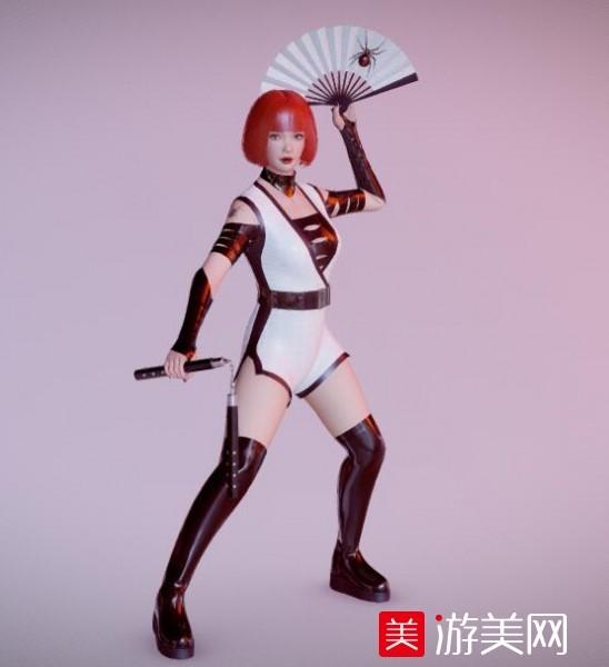 拿扇子和双节棍的年女战士obj模型