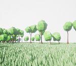 免费Lowplay风格草地树木游戏模型